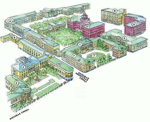 Схема комплекса зданий на